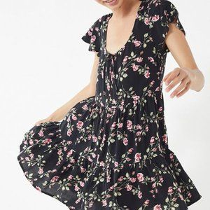 Urban Outfitters Black Floral Babydoll Dress Small
